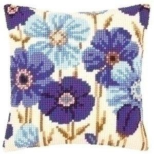 Vervaco Borduren kussen blauwe anemonen 0145051