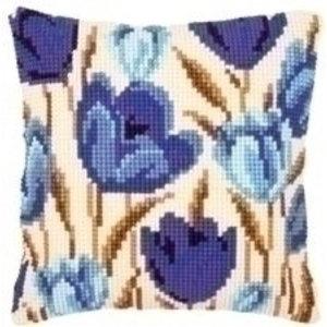 Vervaco Borduurkussen blauwe tulpen 0021764