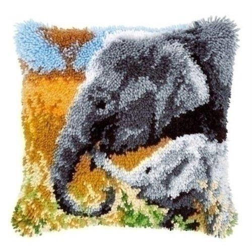Vervaco Smyrna borduurkussen Olifant met jong 0147955