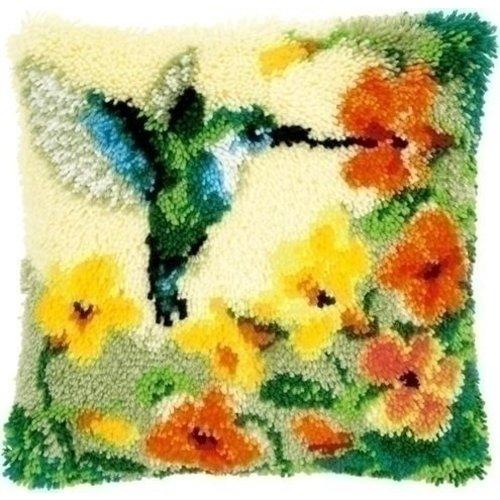 Vervaco Smyrna knoopkussen Kolibri met bloemen 0146770