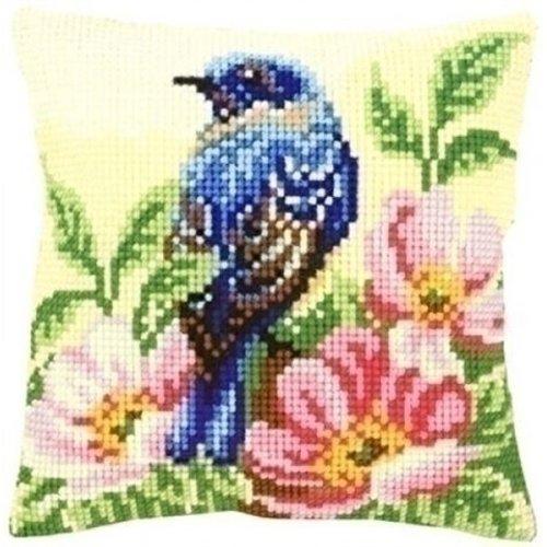 Vervaco Borduurkussen Vogel met wilde rozen 0148175