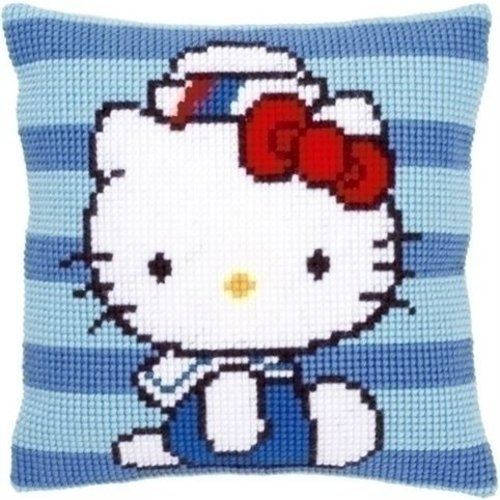 Vervaco Borduurkussen Hello Kitty in marine I 0149831