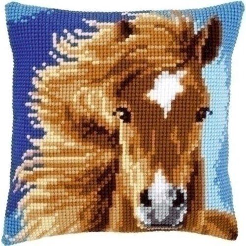 Vervaco Vervaco borduurkussen bruin paard 0149463