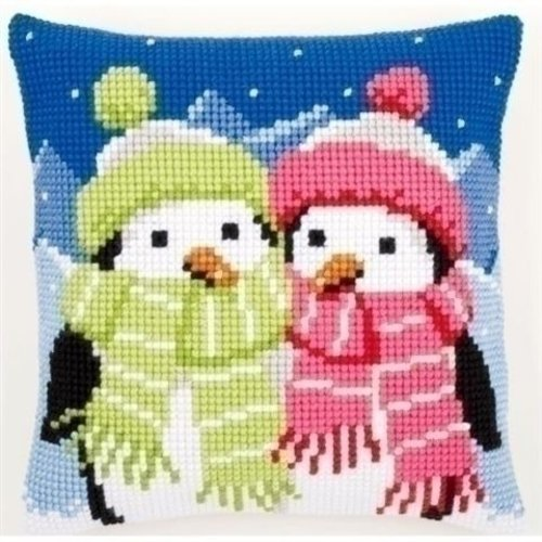 Vervaco Vervaco Borduurkussen Pinguins met sjaal 0147690
