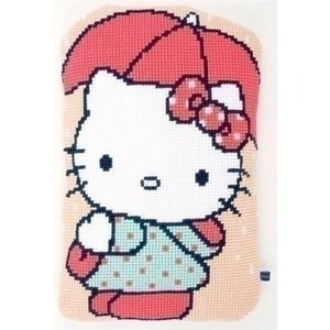 Vervaco Hello Kitty borduurkussen Onder de paraplu 0155203