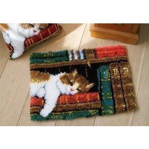 Vervaco Knoopkleed Slapende kat in boekenrek 0149896