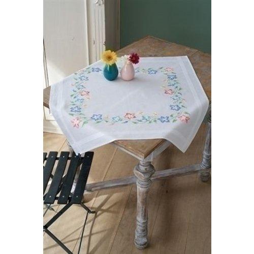 Vervaco Tafelkleed Nap Roze en blauwe bloempjes 0153985