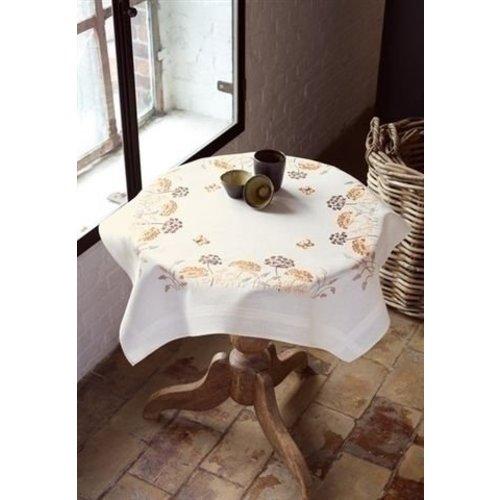 Vervaco Borduren tafelkleed bloemen met vlinder 0148447