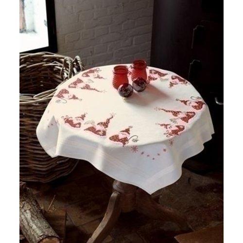 Vervaco Borduren tafelkleed Kerstmannen 0146076