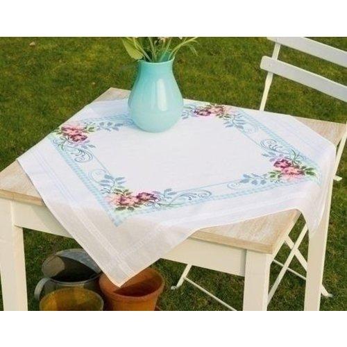 Vervaco Borduren tafelkleed roze bloemenpracht 0146535