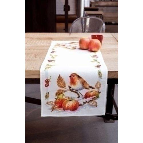 Vervaco Vervaco tafelkleed Roodborstje met appelen 0146877