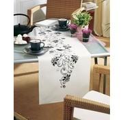 Vervaco Bedrukte lange loper zwarte bloemen 0012995