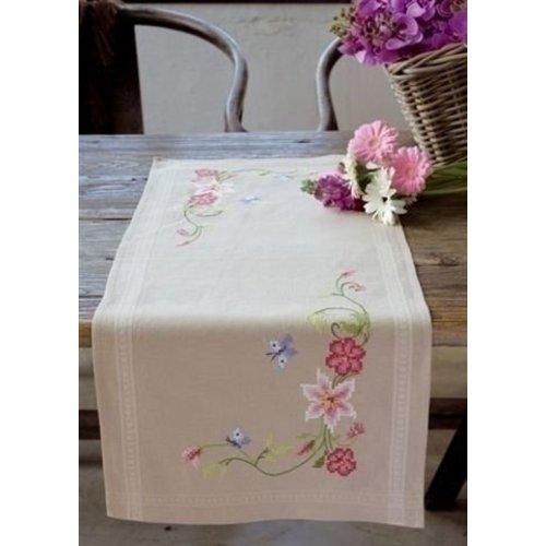 Vervaco Bedrukte tafelloper bloemen met vlinders 0146429