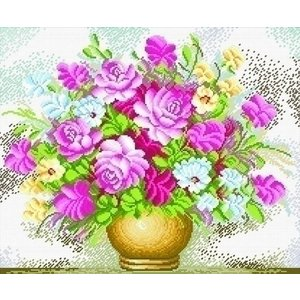 Needleart Voorbedrukt borduurpakket Vase of Flowers 440.008