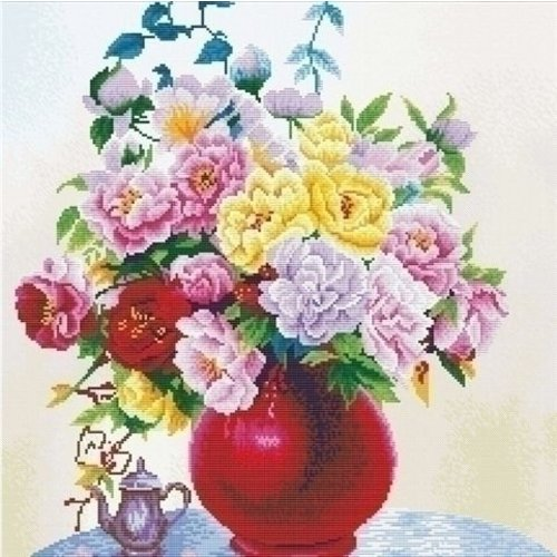Needleart Needleart Cabbage Roses in a Vase 640.057