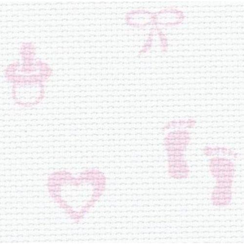 Zweigart Zweigart stern aida Baby roze 110 cm