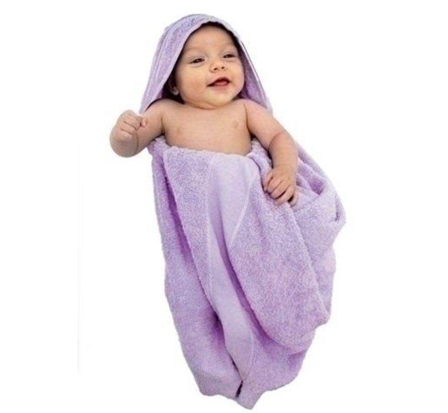Baby badcape wit met aidaband 75 x 100 cm