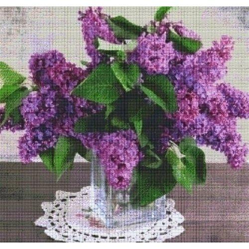 PixelHobby Pixelhobby patroon 830023 Vaas met paarse bloemen