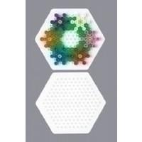 Strijkkralen Grondplaat zeshoekig klein wit 223