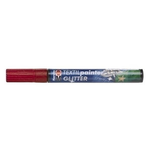 Marabu Marabu Textielstift Plus 3 mm nr 532 Glitter Rood