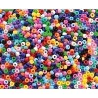 Plastic Kongo rijgkralen basiskleuren 1000 stuks