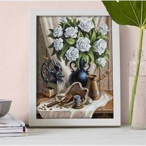 Artibalta Diamond Painting White Roses and Coffee AZ-1657