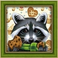 Diamond Painting Racoon With Cookies AZ-1606