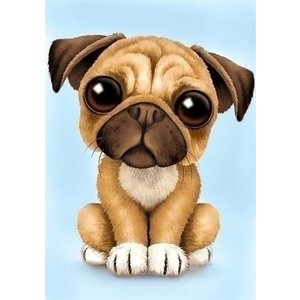 Wizardi Wizardi Diamond Painting Little Pug WD190