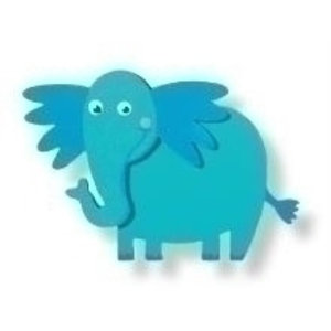 Houten olifant geverfd 3D
