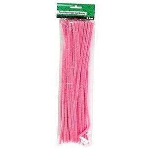 Creotime Chenille draad roze 6 mm x 30 cm 50 stuks