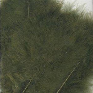 Marabou Veren 8,5 - 12,5 cm 15 stuks Olijfgroen
