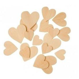 Playbox Houten hartjes 30, 40 en 50 mm 100 stuks