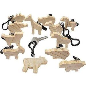 Houten sleutelhangers met dierfiguren