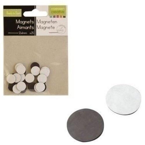 Magneetjes 12mm x 1 mm 25 stuks zelfklevend