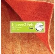 De Witte Engel Fleece2Felt 100 x 15 cm Roodbruin/geel VD0912