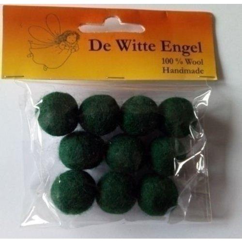 De Witte Engel Viltkralen groen 18 mm 10 stuks