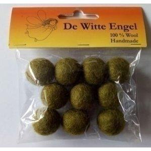 De Witte Engel Viltkralen olijfgroen 18 mm 10 stuks