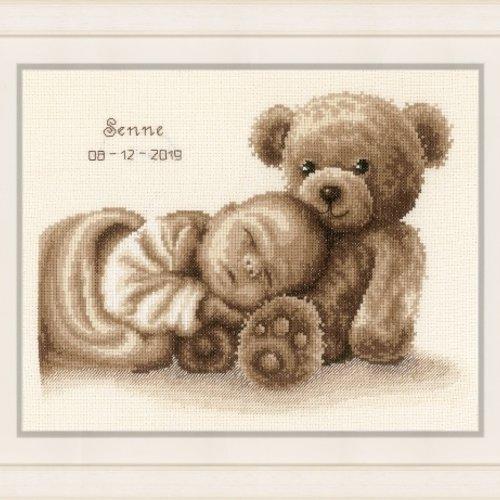 borduurpakket geboorte, geboortetegel borduren