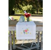 Vervaco borduurpakket tafelloper Lentebloemen met vlinders 0175588