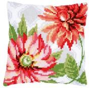 Vervaco Kruissteekkussen Roze bloemen 0170570