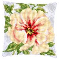 Kruissteekkussen borduurpakket Licht oranje bloemen 0174419
