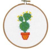 Vervaco Telpakket met borduurring Cactus en gele bloem 0155973