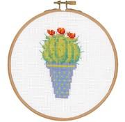 Telpakket met borduurring Cactus en rode bloem 0155972