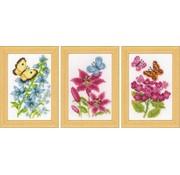 Vervaco Borduurpakketjes Bloemen en vlinders 3 stuks 0157101