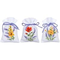 Kruidenzakje Borduurpakket Bloemen en lavendel 3 stuks 0165143