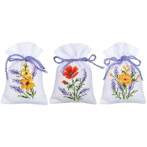Vervaco Kruidenzakje Borduurpakket Bloemen en lavendel 3 stuks 0165143