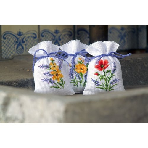 Vervaco Vervaco Kruidenzakje Borduurpakket Bloemen en lavendel 3 stuks 0165143
