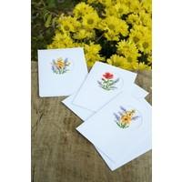 Borduurkaarten Bloemen en lavendel 3 stuks 0169664