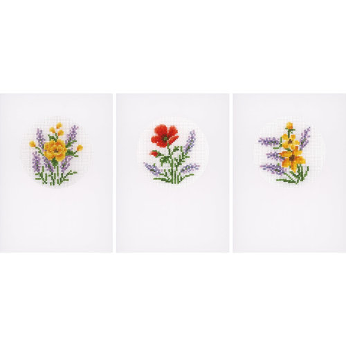 Vervaco Vervaco Borduurkaarten Bloemen en lavendel 3 stuks 0169664