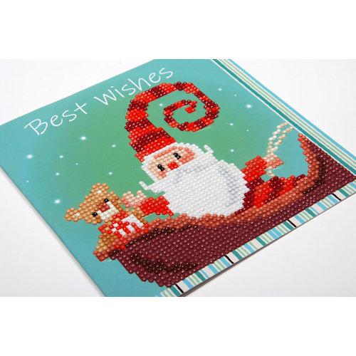 Vervaco Diamond painting kerstkaart Vrolijke kerstman 0183277